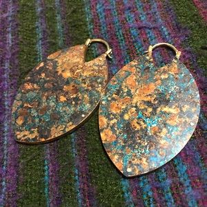 Beautiful copper and turquoise patina earrings